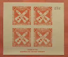 1935 Australia Rocket Mail Imperf Sheet Ez# 5A1a Mnh * Ex Al Barnes