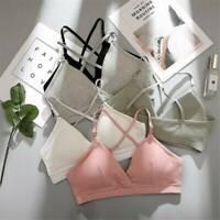 Women's Push-up Lingerie Cotton Strappy Bralette Padded Bra Crop Tops Underwear