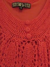 BIBA VINTAGE CROCHETED DRESS, SLEEVELESS, LINED, ORANGE/CORAL, SMALL/UK 10 VGC