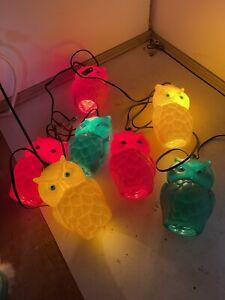 Vintage Owl Blow Mold String Of 7 Lights.