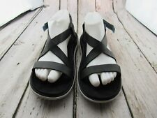 Women's TEVA Terra-Float Livia Lux Black Leather Sandals Size 9 / 40 ~ 1009810