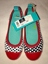 NWT CHOOZE Holiday Red Black White Girls SHOES Y Sz 2 Mis-Match Polka Dots