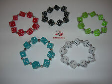 NEW 5 HAND MADE ASSORTED DICE BRACELETS RED, BLUE, GREEN, BLACK AND WHITE