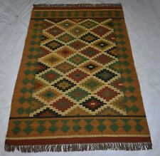 Hand Woven Traditional Jute Wool Multi Color Rug Rectangle Area Rug 5x8 Feet