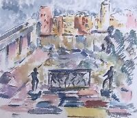 Vintage Signed Watercolor of French Plaza Cityscape Paris Impressionist City 50s