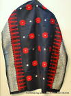 """Hand Woven Songket Palembang Skirt/Wrap Silver Embroidery 76""""X32"""" Black/Red"""