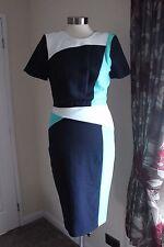 size 16 navy aqua and white lined shift dress marks and spencer new sercret slim