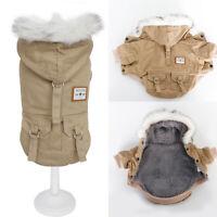 Fleece Winter Dog Coat for Small Medium Dogs Hoodie Fur Collar Jacket Clothes