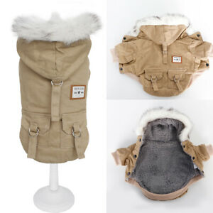 Fleece Winter Dog Coat for Small Medium Dogs Hoodie Fur Collar Jacket Clothes