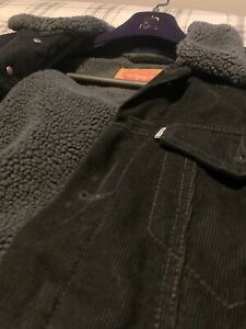 Levi - Black Cord - Mens Jacket - Medium - Sherpa Trucker