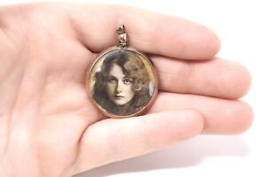 A Lovely Antique Edwardian 9ct 375 Rose Gold Round Picture Locket Pendant #32773