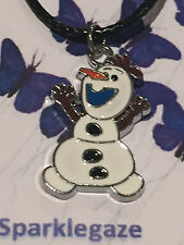 """BRAND NEW 2017 FROZEN """"OLAF"""" PENDANT  WITH FAUX BLACK NECKLACE GREAT GIFT IDEA 6"""
