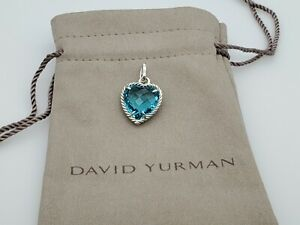 David Yurman Cable Heart Pendant Enhancer with Blue Topaz, 16mm