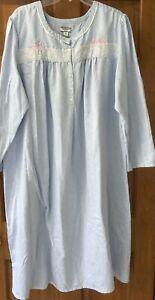 Croft & Barrow Women's Long Sleeve Mid-Calf Long Nightgown Blue Size 2X