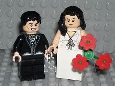 LEGO BRIDE GROOM MINIFIGURES Flesh Figures Black Hair WEDDING CAKE TOPPER NEW