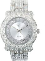 Fully Iced Men Silver Watch Bling Rapper Simulate Diamond Luxury Band Club Party