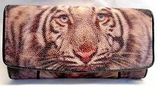 GENUINE STING RAY LEATHER  PAINTED TIGER LADIES TRIFOLD CLUTCH NEW WALLET