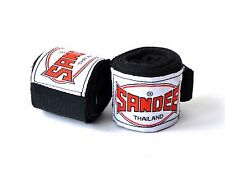 Sandee Muay Thai 2.5 Metre Stretch Hand Wraps Black Boxing Hand Pads Protection