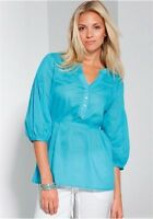 Bluse mit Bindegürtel Blouse Shirt Tunika Gr. 38 42 Neu türkis 870528