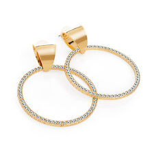 Gold Coloured Crystal Design Round Earrings Ladies Fashion Jewellery