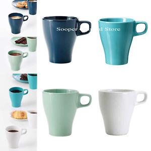 Tea Coffee Cups Mugs Stoneware Set Pack of 2 4 6 12 Plain White Blue Green 25cl