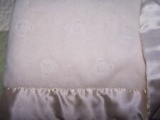 First Impressions Plush Off White Beige Plush w Bear Faces & Satin Baby Blanket