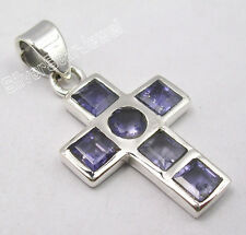 ".925 Solid Silver Dazzling IOLITE HANDMADE CROSS Pendant 1.2"" ONLINE SHOPPING"