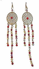 RUSTIC THEME BRONZE MOROCCAN INSPIRED BOLD RED/RUSTIC GOLD EARRINGS(ZX11)