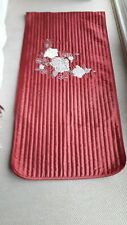 Quilted End of Bed Runner  Fit Double Size Bed  Red/Cream Embellished
