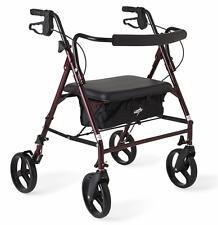 Medline Rollator Walker with Seat Transport Chair Heavy Duty 4 Wheel 500 lbs