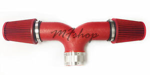 Coated Red Dual For 1999-2004 Jeep Grand Cherokee 4.7L V8 Twin Air Intake Kit