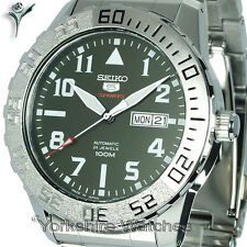 New SEIKO SPORTS MILITARY GREEN FACE AUTO WITH STAINLESS STEEL BRACELET SRP751J1