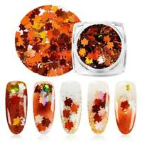 Autumn Maple Leaf Shape Nail Art Glitter Snowflake Sequins Spangle Nail Tips 3D