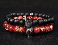 Men Fashion Lava Stone Beads Black CZ Crown & Red Skull Men Charm Bracelets Gift