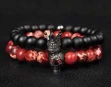 Men Lava Stone Beads Black CZ Crown & Red Skull Men Charm Bracelets Jewelry Gift