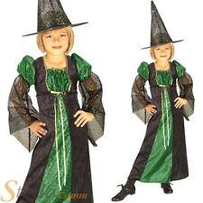 ORANGE POUR FILLES & VERT BRILLANT Costume sorcière costume Halloween 3-4 ans