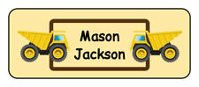 30 personalized dump truck name tag stickers, tags, school supply labels