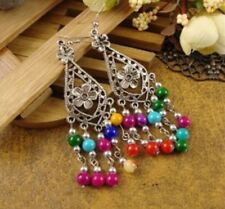 Women's Silver Long Drop Earrings with Beads in Six Stunning Colour's - UK