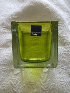 "Leonardo 3"" Vase, Flower Pot, Square lovely green  ?vintage? EUC  **label intact"
