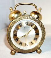 Vintage Bulova Mechanical Twin Bells Alarm Clock Marked JAPAN & Over Wound