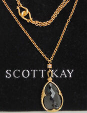 "NEW $1100+ Scott Kay Guardian Gold Vermeil Black Spinel Pendant Sapphire 18"" 36"""