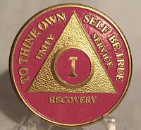 Pink & Gold Plated One Year AA Chip Alcoholics Anonymous Medallion Coin 1