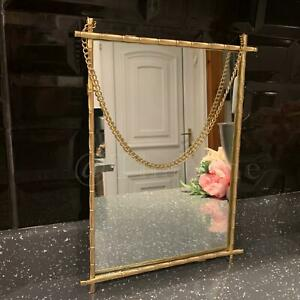Antique Style Gold Hanging Chain Mirror Metal Frame Rectangle Glass Wall Mirror