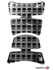 Protection de réservoir adhésive moto noire et gris motif crâne en 2 parties