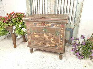 Large Vintage Indian Hand Made Painted Solid Wooden Trunk Chest Blanket Box