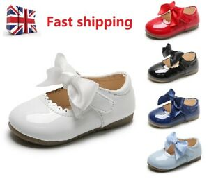 Baby Infants Girl Shoes Satin Bow Spanish Wedding Party Patent Toodler Shoes AIR