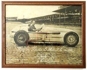 Rare Framed 1950 Indianapolis 500 Winner JOHNNIE PARSONS Firestone Photo