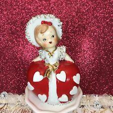 New ListingVtg Lefton Valentine Girl Bell With Red Heart Dress And Bonnet Figurine Japan