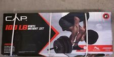 CAP 100 lb Vinyl Weight Set Barbell 1 Inch Plate Standard In Hand Ships Today!