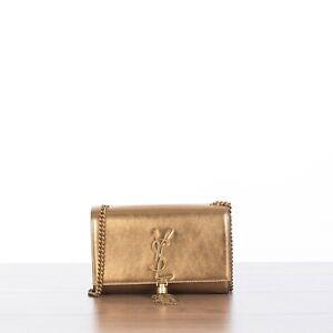 SAINT LAURENT 2450$ Small KATE Monogram Tassel Bag In Gold Laminated Leather